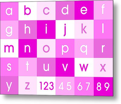 Alphabet Pink Metal Print by Michael Tompsett