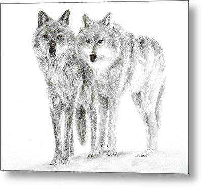 Metal Print featuring the drawing Alphas by Meagan  Visser