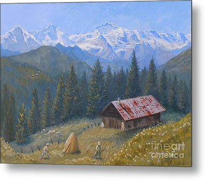 Alpine Beauty With Eiger Monch And Jungfrau Metal Print by Elaine Jones