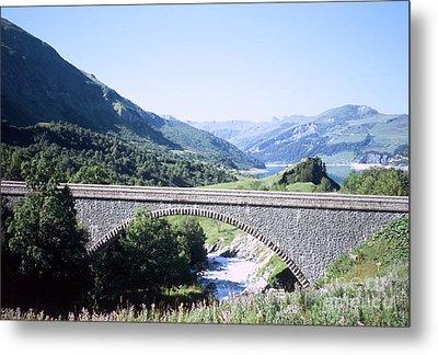 Alpine Bridge With Lake Metal Print by Fabrizio Ruggeri