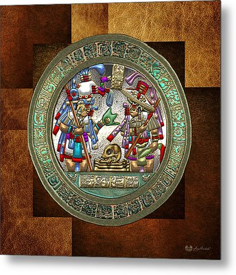 Altar 5 From Tikal - Mayan Nobles Performing A Ritual - On Brown Leather  Metal Print by Serge Averbukh
