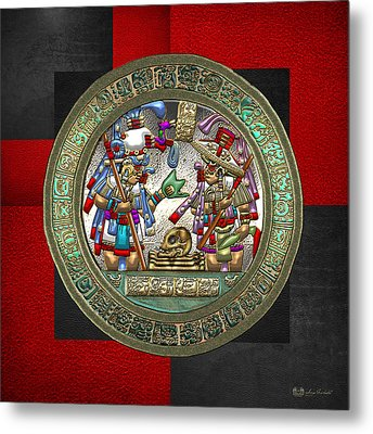 Altar 5 From Tikal - Mayan Nobles Performing Reburial Ritual - On Black And Red Leather Metal Print by Serge Averbukh