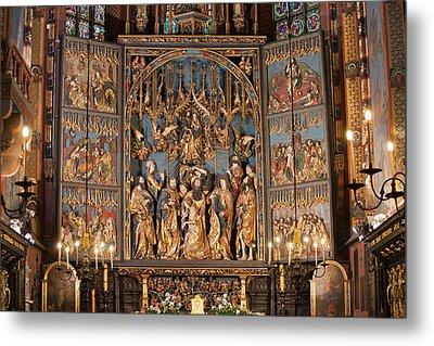 Altarpiece By Wit Stwosz In St. Mary's Basilica In Krakow Metal Print by Artur Bogacki