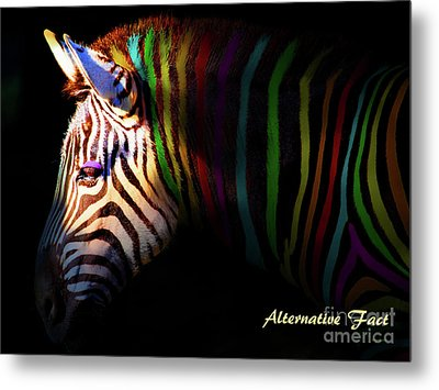 Metal Print featuring the photograph Alternative Fact Number 1 The Color Striped Zebra 7d8908 by Wingsdomain Art and Photography