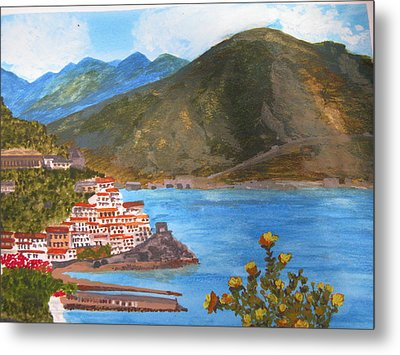 Metal Print featuring the painting Amalfi Coast by Trilby Cole
