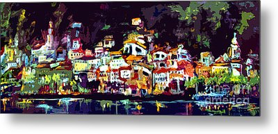 Amalfi Italy At Night Panoramic Metal Print by Ginette Callaway