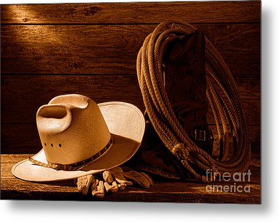 Amarillo By Morning - Sepia Metal Print by Olivier Le Queinec