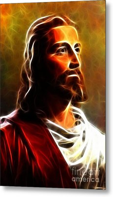 Amazing Jesus Portrait Metal Print by Pamela Johnson