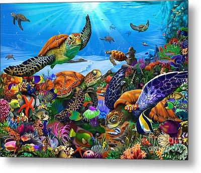 Amazing Undersea Turtles Metal Print