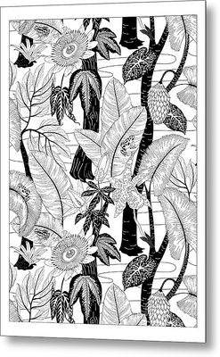 Amazon Black And White Metal Print by Jacqueline Colley