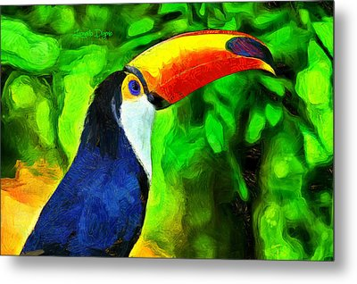 Amazon Forest Tucano - Da Metal Print by Leonardo Digenio