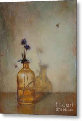 Amber Bottle And Bees  Metal Print by Lori  McNee