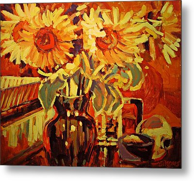 Amber's Sunflowers Metal Print by Brian Simons