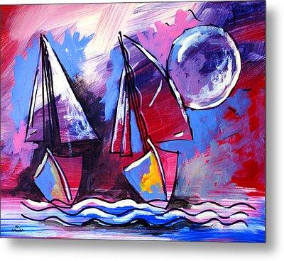 Ameeba- Sailboats 2 Metal Print
