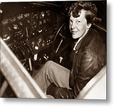 Amelia Earhart Sitting In Airplane Cockpit Metal Print