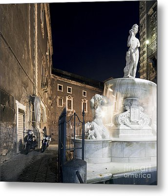 Amenano Fountain In Catania Metal Print by Wolfgang Steiner