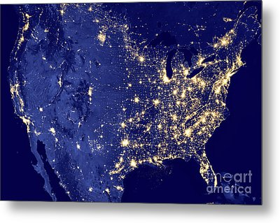 Metal Print featuring the photograph America By Night by Delphimages Photo Creations
