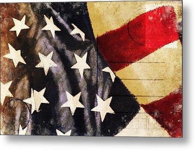 America Flag Pattern Postcard Metal Print by Setsiri Silapasuwanchai