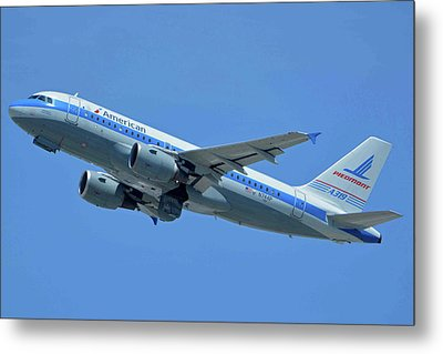 Metal Print featuring the photograph American Airbus A319-0112 N744p Piedmont Pacemaker Los Angeles International Airport May 3 20 by Brian Lockett