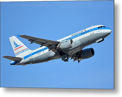 American Airbus A319-0112 N744p Retro Piedmont Pacemaker Phoenix Sky Harbor January 21 2016 Metal Print by Brian Lockett
