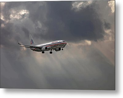 American Aircraft Landing After The Rain. Miami. Fl. Usa Metal Print