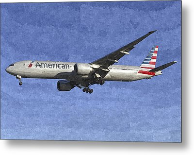 American Airlines Boeing 777 Aircraft Art Metal Print