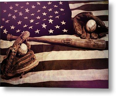 American Baseball Grunge Metal Print by Dan Sproul