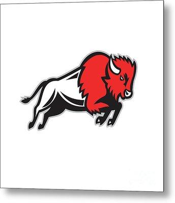 American Bison Buffalo Jumping Retro Metal Print
