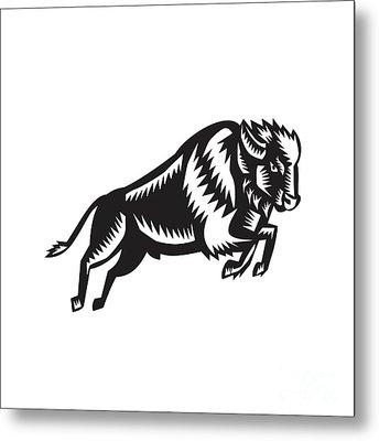 American Bison Buffalo Jumping Woodcut Metal Print