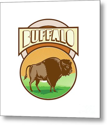 American Bison Buffalo Oval Woodcut Metal Print by Aloysius Patrimonio