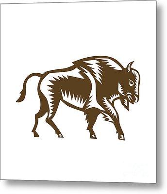 American Bison Woodcut Metal Print by Aloysius Patrimonio