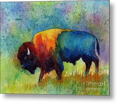 Metal Print featuring the painting American Buffalo IIi by Hailey E Herrera