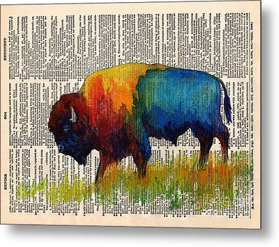 American Buffalo IIi On Vintage Dictionary Metal Print by Hailey E Herrera