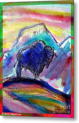 American Buffalo Sunset Metal Print by M C Sturman