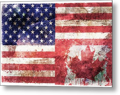 American Canadian Tattered Flag Metal Print by Az Jackson