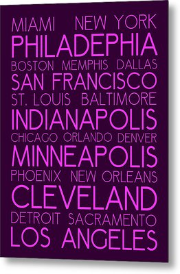 American Cities In Bus Roll Destination Map Style Poster Metal Print by Celestial Images