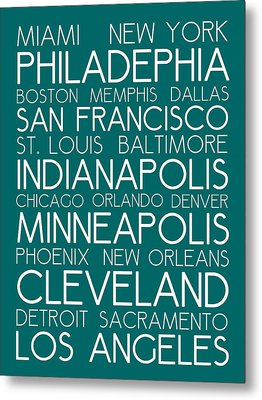 American Cities In Bus Roll Destination Map Style Poster - Green Metal Print by Celestial Images