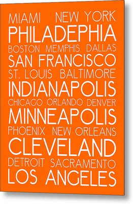 American Cities In Bus Roll Destination Map Style Poster - Orange Metal Print by Celestial Images