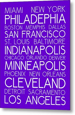 American Cities In Bus Roll Destination Map Style Poster - Purple Metal Print by Celestial Images