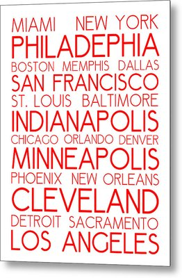 American Cities In Bus Roll Destination Map Style Poster - White-red Metal Print by Celestial Images