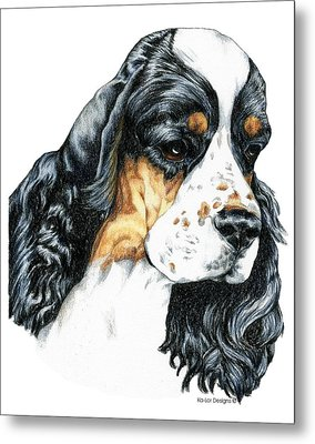 American Cocker Spaniel Parti Color Portrait Metal Print