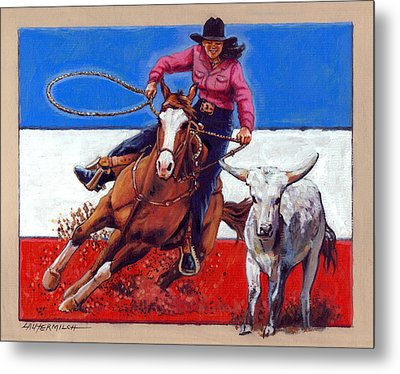 American Cowgirl Metal Print by John Lautermilch