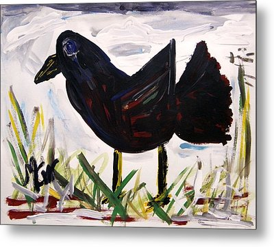 American Crow Metal Print by Mary Carol Williams