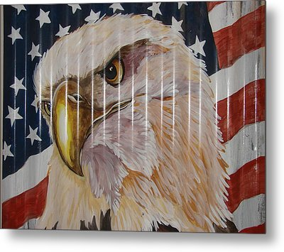 Metal Print featuring the painting American Eagle by Patty Sjolin