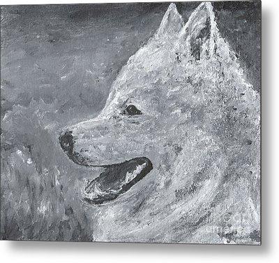 American Eskimo Dog - Spitz Metal Print by Jennifer Gonzalez