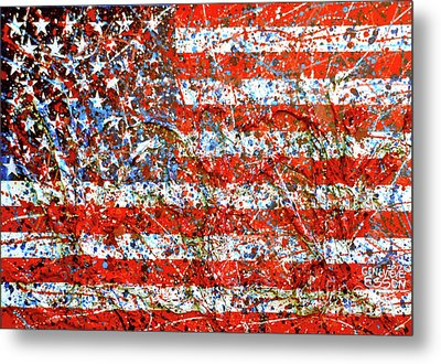 American Flag Abstract 2 With Trees  Metal Print by Genevieve Esson