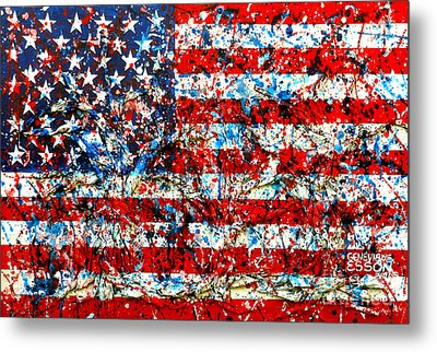 Metal Print featuring the painting American Flag Abstract With Trees by Genevieve Esson