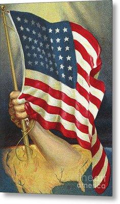 American Flag Emerging From America Metal Print by American School