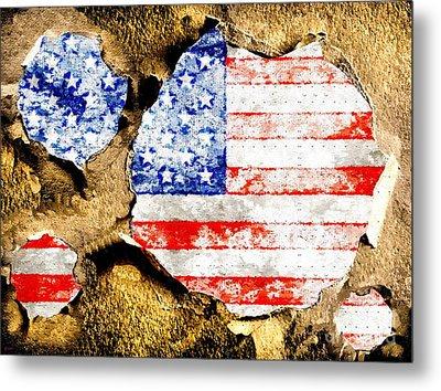 American Flag Grunge Metal Print