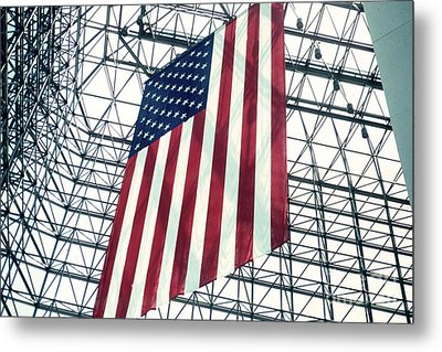 American Flag In Kennedy Library Atrium - 1982 Metal Print by Thomas Marchessault